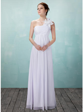 Empire Chiffon Sleeveless One Shoulder Floor-Length Wedding Dresses
