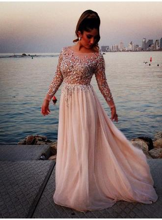 A-Line/Princess Scoop Neck Chiffon Long Sleeves Sweep Train Beading Evening Dresses