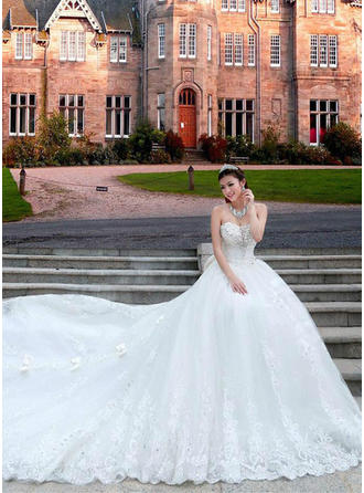A-Line/Princess Sweetheart Cathedral Train Wedding Dress With Lace Beading Appliques Lace Sequins Bow(s)