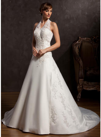 Gorgeous Chapel Train A-Line/Princess Wedding Dresses Halter Satin Sleeveless
