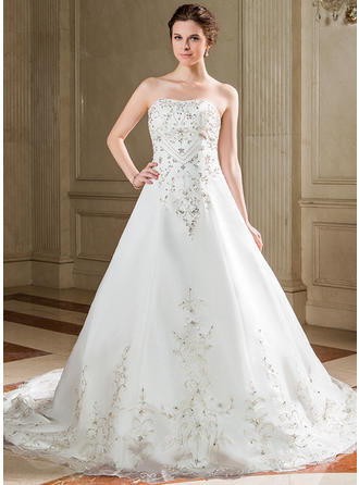 Modern Chapel Train A-Line/Princess Wedding Dresses Sweetheart Satin Organza Sleeveless