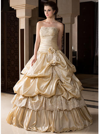 Ball-Gown Strapless Floor-Length Taffeta Prom Dress With Ruffle Beading Appliques Lace Flower(s)