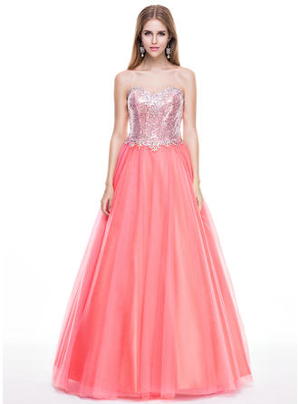 Tulle Sequined Sleeveless Floor-Length - Ball-Gown Prom Dresses