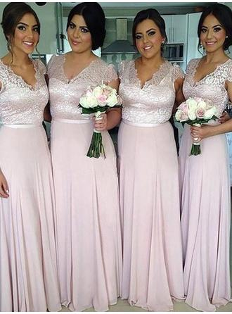 A-Line/Princess V-neck Short Sleeves Floor-Length Chiffon Bridesmaid Dresses