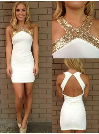Sheath/Column Sequins Satin Homecoming Dresses V-neck Sleeveless Short/Mini