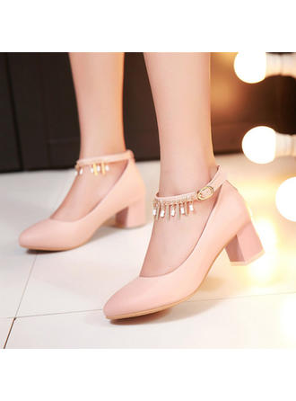 Women's Closed Toe Chunky Heel Leatherette With Buckle Wedding Shoes