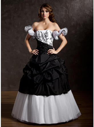 Ball-Gown Strapless Floor-Length Taffeta Tulle Prom Dress With Ruffle Lace Beading