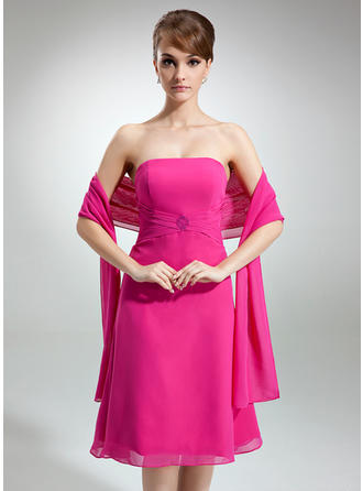 Chiffon Sleeveless A-Line/Princess Bridesmaid Dresses Strapless Ruffle Beading Knee-Length
