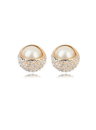 Earrings Champaign Gold Plated Pearl Pierced Ladies' Wedding & Party Jewelry