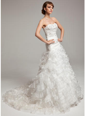 A-Line/Princess Chapel Train Wedding Dress With Beading Cascading Ruffles