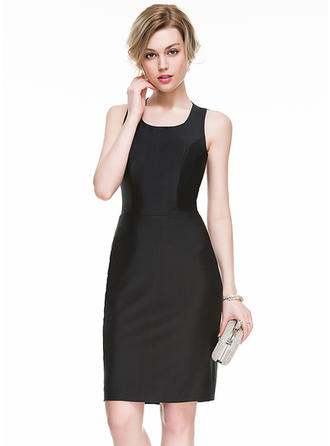 Sheath/Column Jersey Cocktail Dresses Split Front Square Neckline Sleeveless Knee-Length