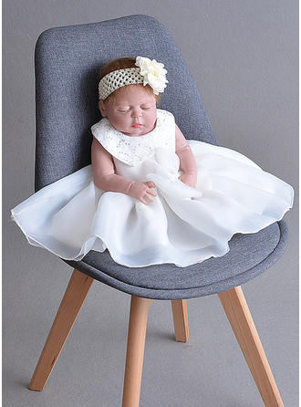 Chiffon Peter Pan Collar Bow(s) Baby Girl's Christening Gowns With Sleeveless