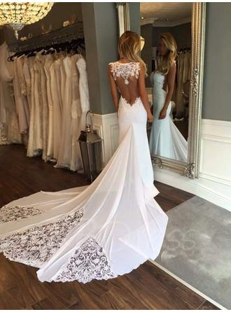 Sweetheart Trumpet/Mermaid Wedding Dresses Chiffon Appliques Lace Sleeveless Cathedral Train (002146954)