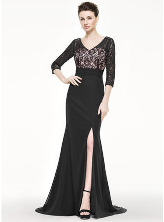 Trumpet/Mermaid Chiffon Lace 3/4 Sleeves V-neck Sweep Train Zipper Up Mother of the Bride Dresses
