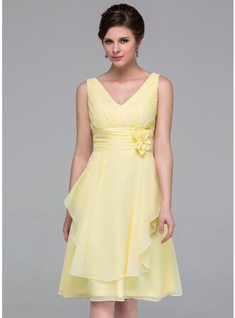 A-Line V-neck Knee-Length Chiffon Bridesmaid Dress With Flower(s) Cascading Ruffles