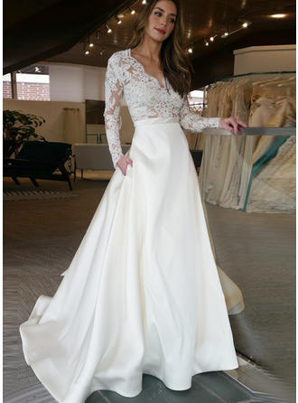 A-Line/Princess V-neck Sweep Train Wedding Dress