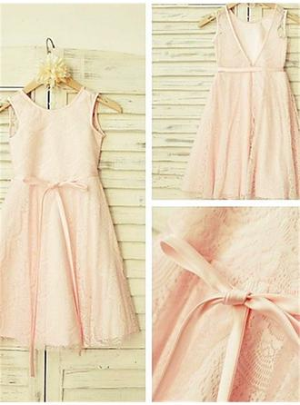 Scoop Neck A-Line/Princess Flower Girl Dresses Lace Sash Sleeveless Tea-length