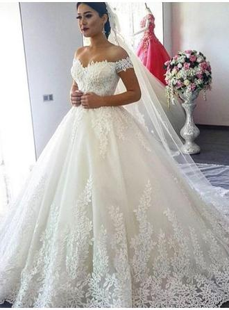 Sexy Tulle Wedding Dresses Ball-Gown Sweep Train Off-The-Shoulder Sleeveless