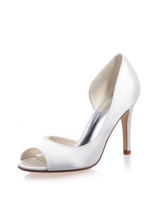 Frauen Peep-Toe Sandalen Stöckel Absatz Satin Brautschuhe