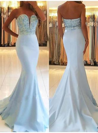 Stretch Crepe Sleeveless Trumpet/Mermaid Prom Dresses Sweetheart Beading Sweep Train