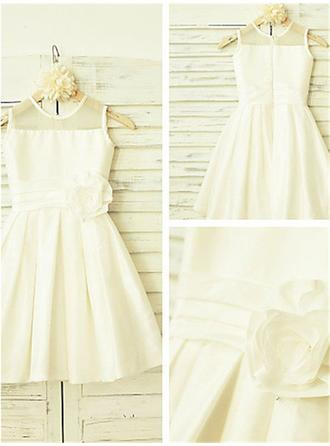Scoop Neck A-Line/Princess Flower Girl Dresses Taffeta Flower(s) Sleeveless Tea-length
