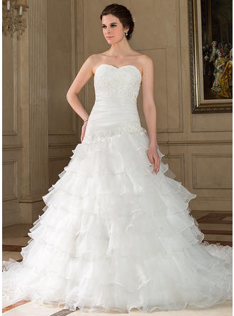 A-Line/Princess Chapel Train Wedding Dress With Lace Beading Sequins Cascading Ruffles