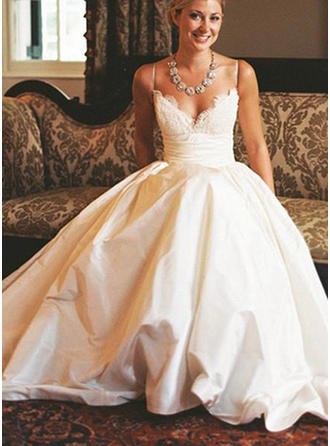 A-Line/Princess V-neck Floor-Length Sweep Train Wedding Dress With Lace