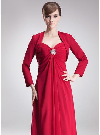 Empire-Linie Schatz Chiffon Ärmellos Bodenlang Rüschen Kristalle Blumen Brosche Kleider für die Brautmutter (008002223)