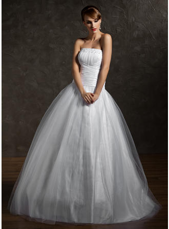 Ball-Gown Tulle Princess Floor-Length Strapless Sleeveless