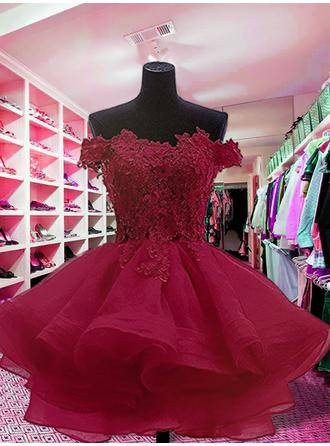 Appliques Ball-Gown Short/Mini Organza Homecoming Dresses