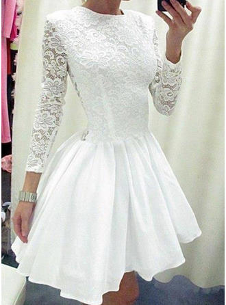 Delicate Satin Homecoming Dresses A-Line/Princess Short/Mini Scoop Neck Long Sleeves