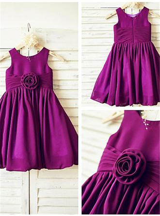 Scoop Neck A-Line/Princess Flower Girl Dresses Taffeta Ruffles/Pleated Sleeveless Knee-length