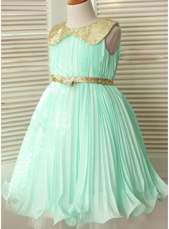 Peter Pan Collar A-Line/Princess Flower Girl Dresses Chiffon/Sequined Sash Sleeveless Knee-length