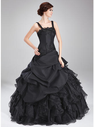 Ball-Gown Square Neckline Floor-Length Prom Dresses With Beading Appliques Lace Cascading Ruffles
