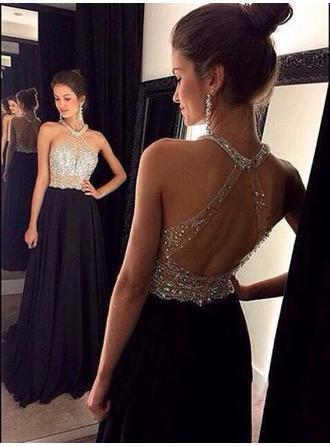 A-Line/Princess Scoop Neck Chiffon Sleeveless Sweep Train Beading Sequins Evening Dresses