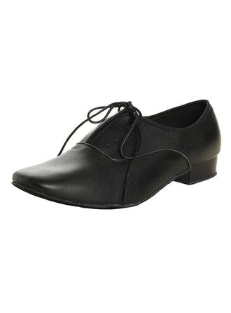 Men's Latin Ballroom Practice Real Leather With Lace-up Dance Shoes