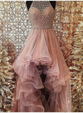 Ball-Gown Halter Asymmetrical Organza Prom Dress With Beading