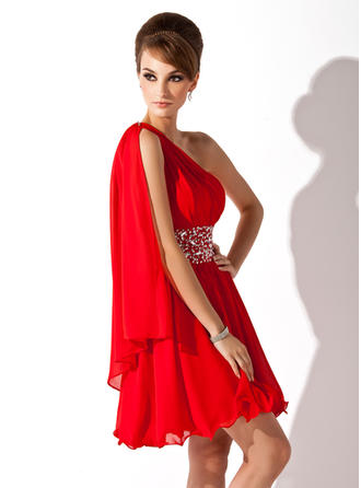 A-Line/Princess One-Shoulder Short/Mini Chiffon Homecoming Dresses With Ruffle Beading