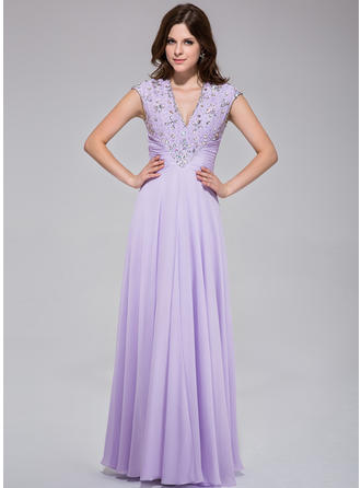 Chiffon Sleeveless A-Line/Princess Prom Dresses V-neck Ruffle Lace Beading Sequins Floor-Length