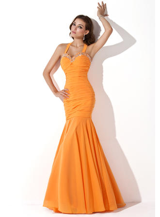 Trumpet/Mermaid Halter Chiffon Sleeveless Floor-Length Ruffle Beading Sequins Evening Dresses