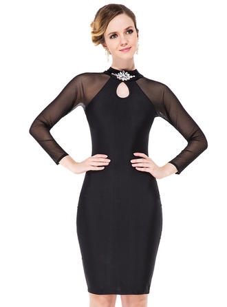 Jersey Knee-Length Scoop Neck Sheath/Column Cocktail Dresses