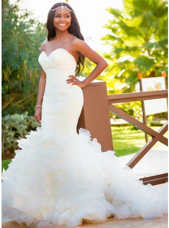 Fashion Court Train Trumpet/Mermaid Wedding Dresses Sweetheart Organza Sleeveless