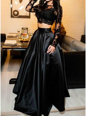 Satin Long Sleeves A-Line/Princess Evening Dresses Floor-Length