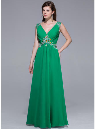 Floor-Length Chiffon A-Line/Princess V-neck Prom Dresses