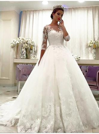 Gorgeous Court Train Ball-Gown Wedding Dresses Off-The-Shoulder Tulle 3/4 Length Sleeves