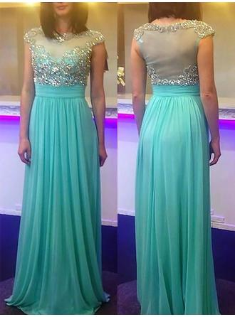 A-Line/Princess Scoop Neck Chiffon Sleeveless Sweep Train Beading Evening Dresses