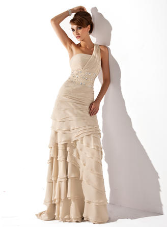 A-Line/Princess One-Shoulder Sweep Train Chiffon Mother of the Bride Dress With Beading Cascading Ruffles (008006056)