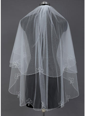 Fingertip Bridal Veils Tulle Two-tier Classic With Beaded Edge Wedding Veils