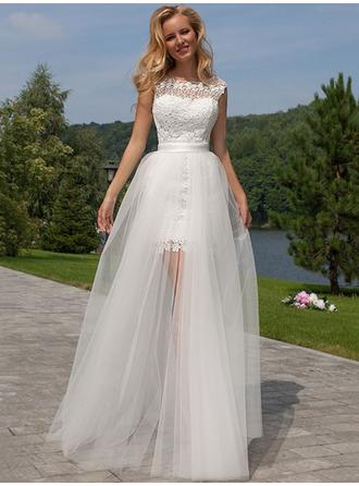 A-Line/Princess Scoop Floor-Length Wedding Dress With Split Front