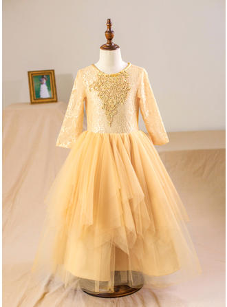 A-Line/Princess Scoop Neck Tea-length With Beading/Appliques/Back Hole Tulle/Lace Flower Girl Dresses